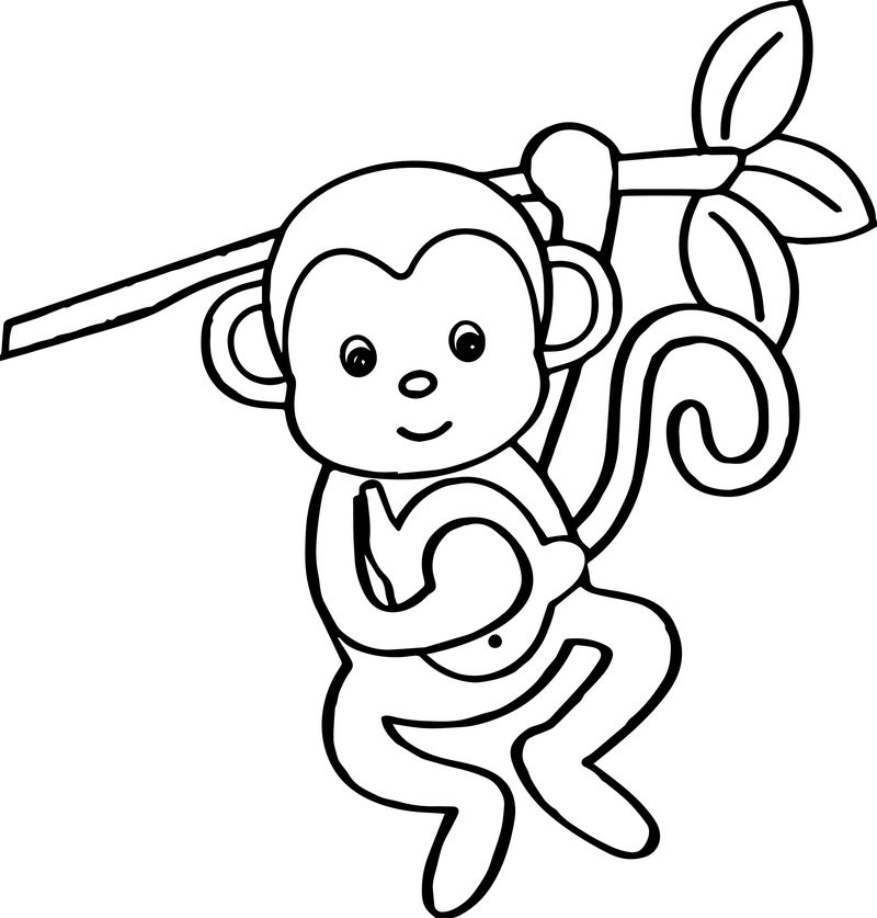 Cartoon Animals Kids Monkey Coloring Page 001