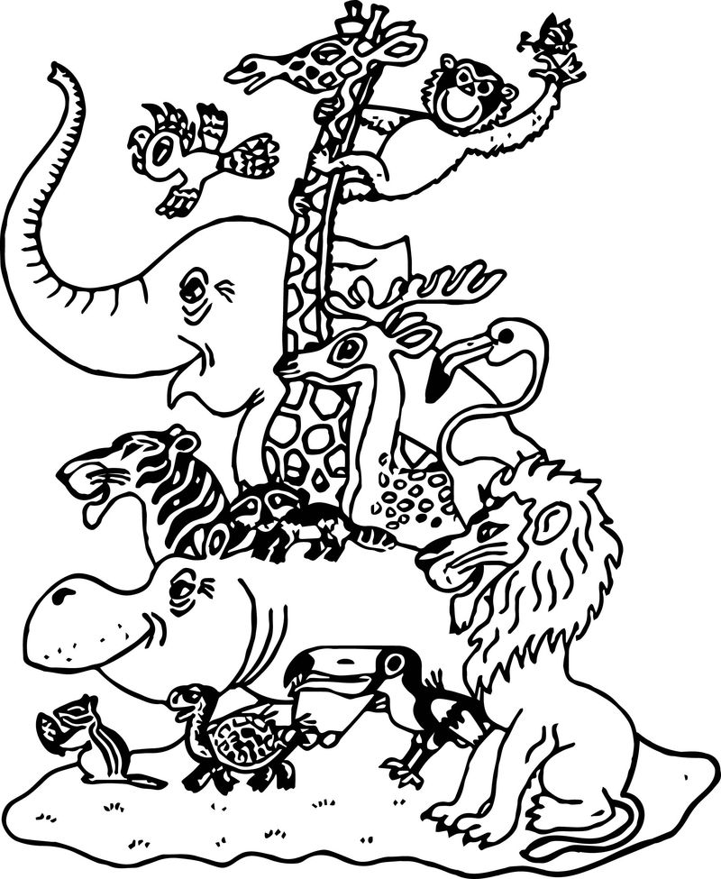 Cartoon Pictures Zoo Animals Family Coloring Page