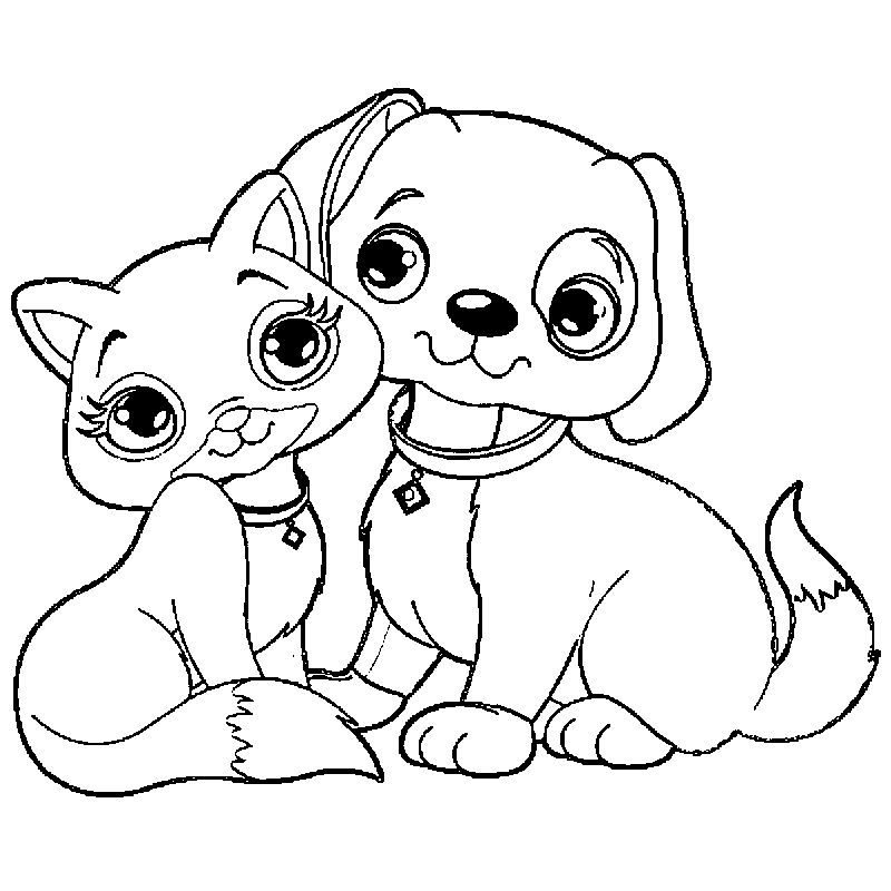 Cat And Puppy Dog Puppy Dog Coloring Page