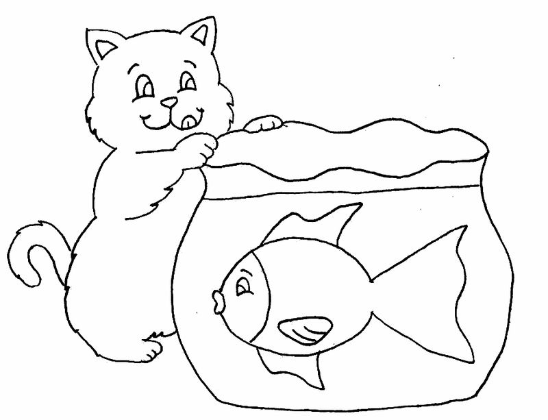 Cat Fishing Coloring Pages 001