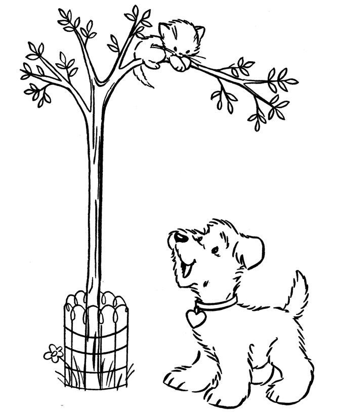 Cat In Tree Coloring Page
