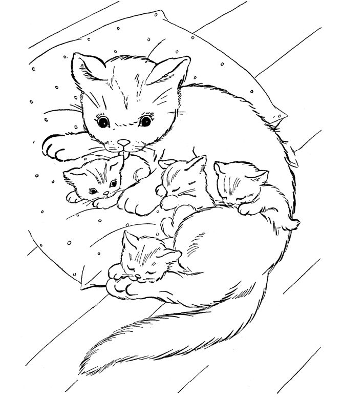 Cat With Kittens Animal Coloring Pages
