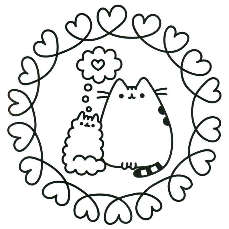Cats in Love Pusheen Coloring Pages