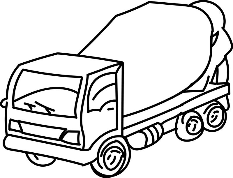 Cement Truck Go Coloring Page