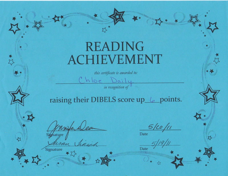 Certificate For Good Reading Sample 001
