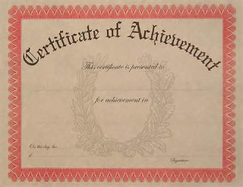 Certificate Of Achievement Page 001