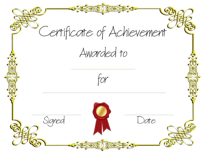 Certificate Of Achievement Printable 001