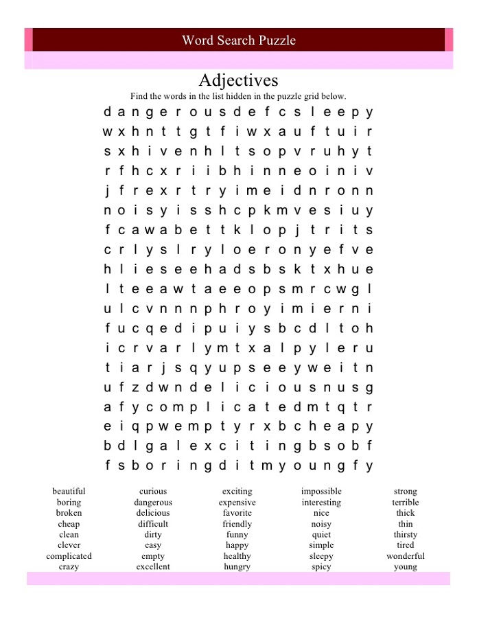Character Traits Word Search Worksheet