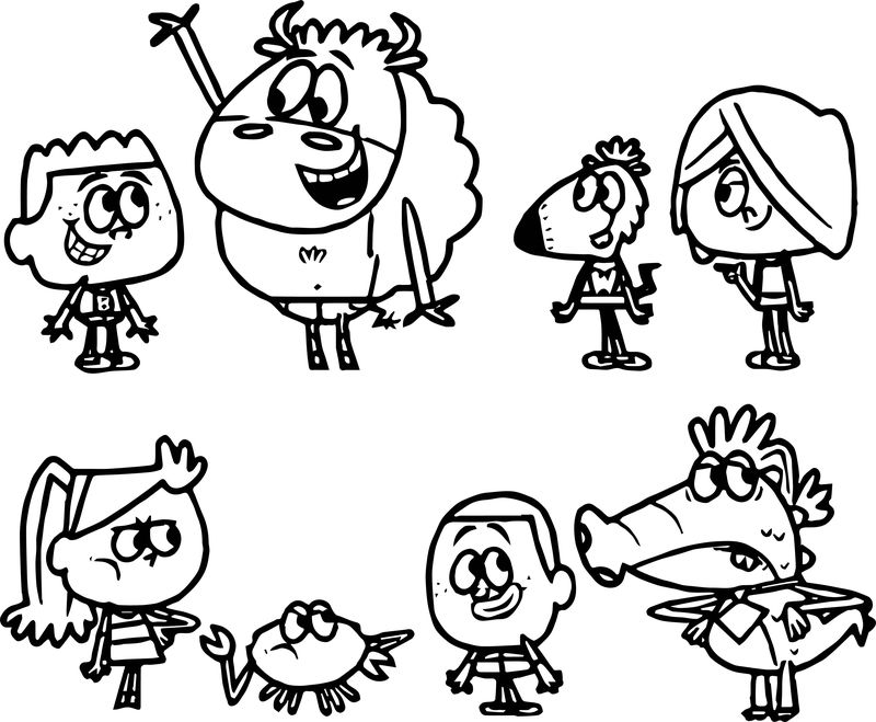 Characters Creature Cute Boys Animals Coloring Page