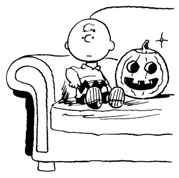 Charlie Brown Halloween Snoopy Coloring Pages Pumpkin Free