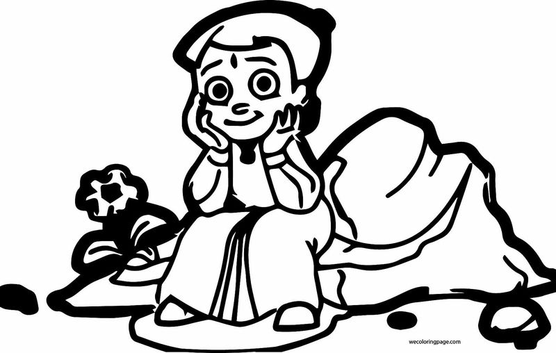 Chhota Bheem Coloring Page 64 Happy Stay On Stone