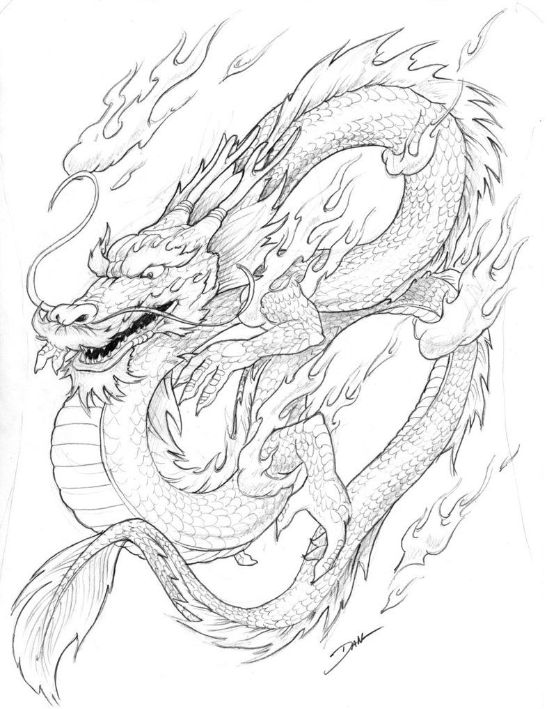 Chinese Dragon Coloring Page 002