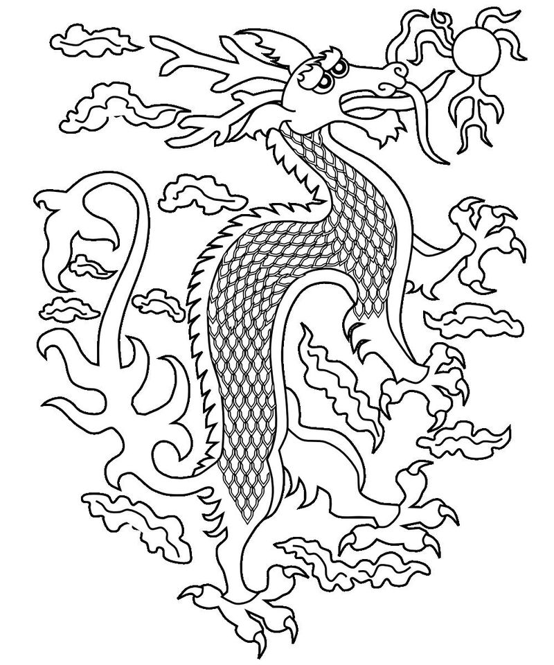 Chinese New Year Dragon Coloring Page 001