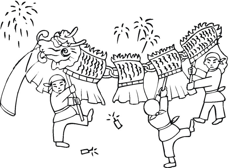 Chinese new year dragon coloring pages 001
