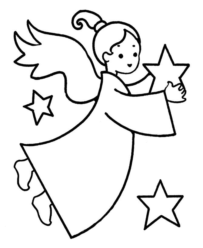 Christmas Angel Coloring Page For Preschoolers