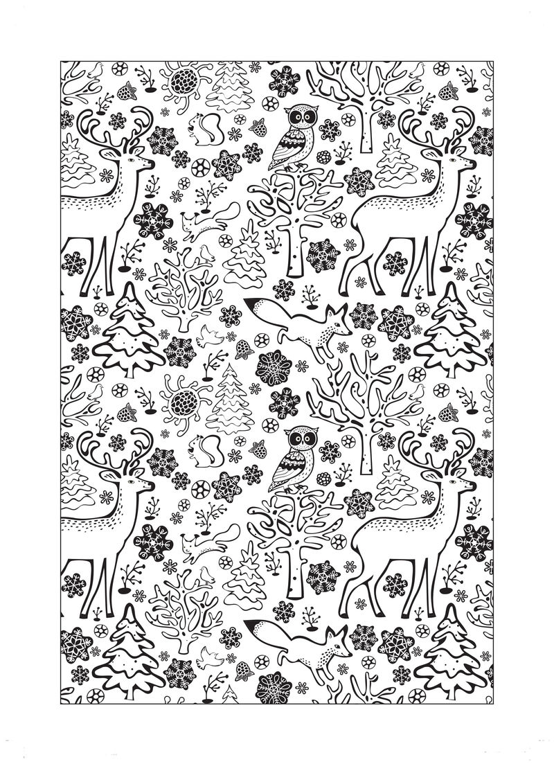 Christmas Coloring Pages Animal Design
