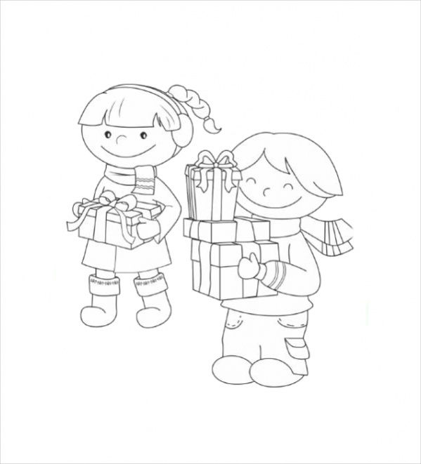 Christmas Presents Coloring Page For Preschoolers