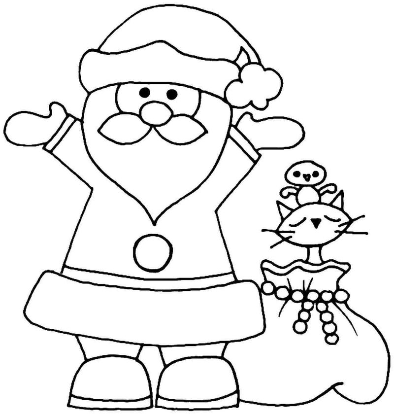 Christmas Santa Coloring Page For Preschoolers