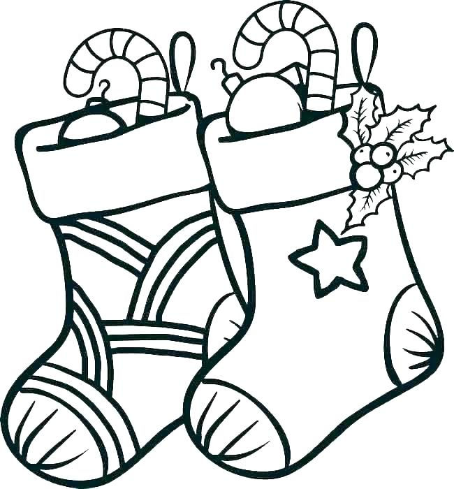 Christmas Stockings Coloring Page For Preschoolers
