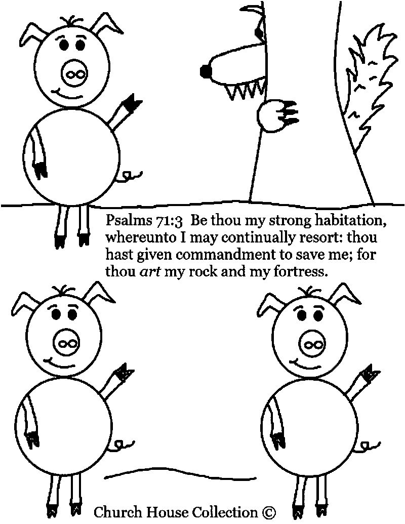 Church House Collection 3 Little Pigs Coloring Page