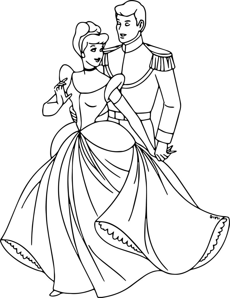 Cinderella And Prince Charming Coloring Pages 20