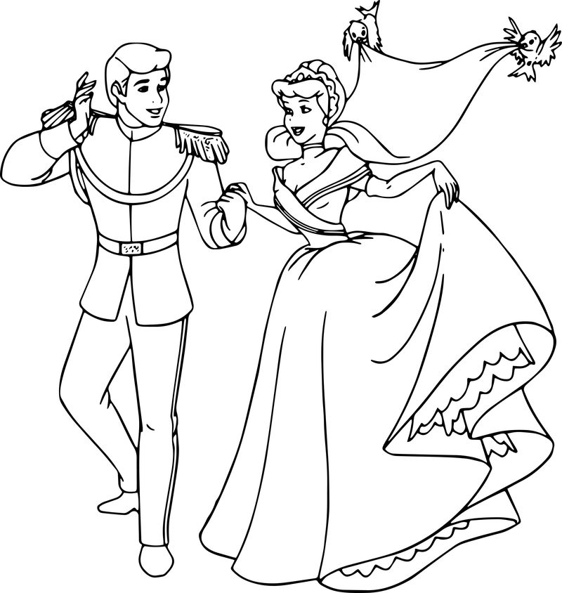 Cinderella And Prince Charming Coloring Pages 27