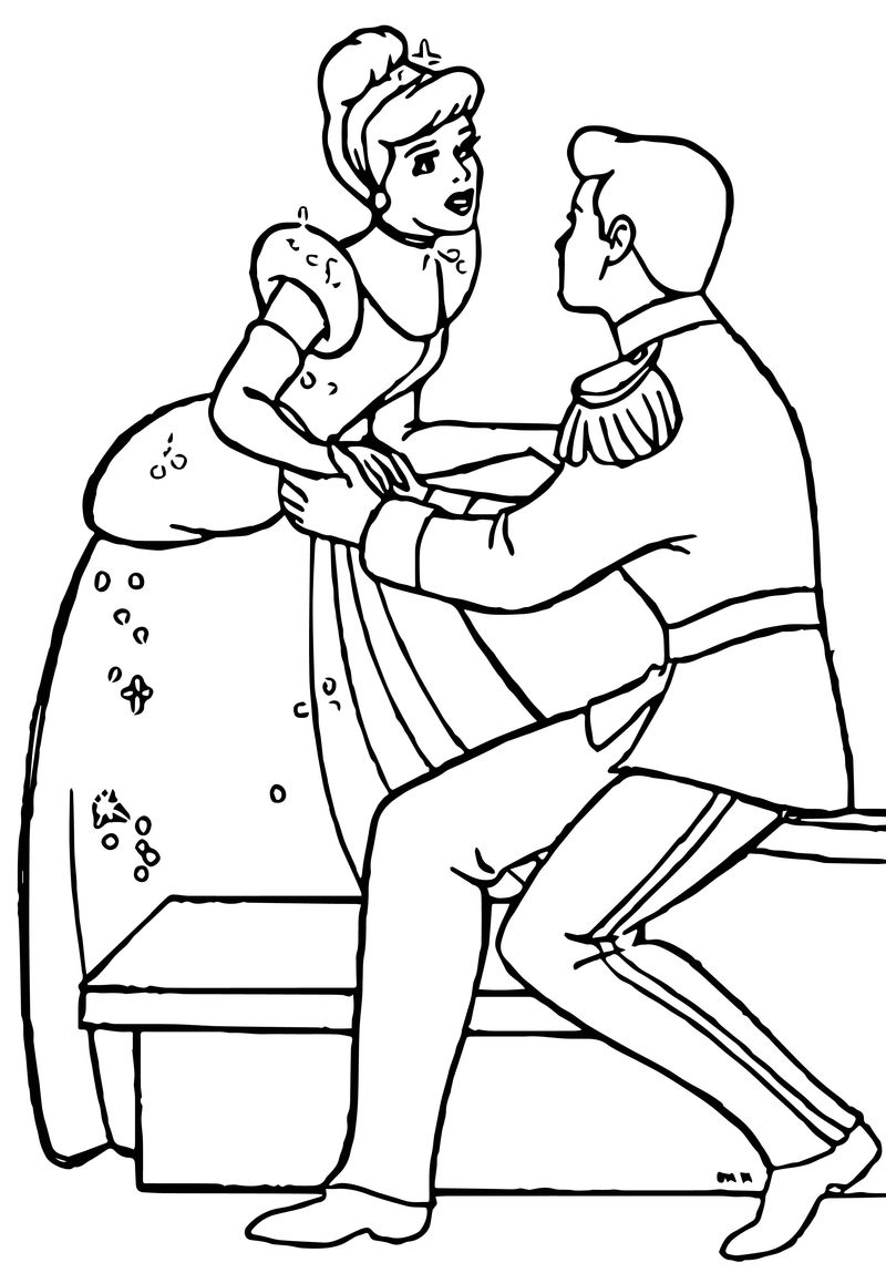 Cinderella And Prince Charming Coloring Pages 35