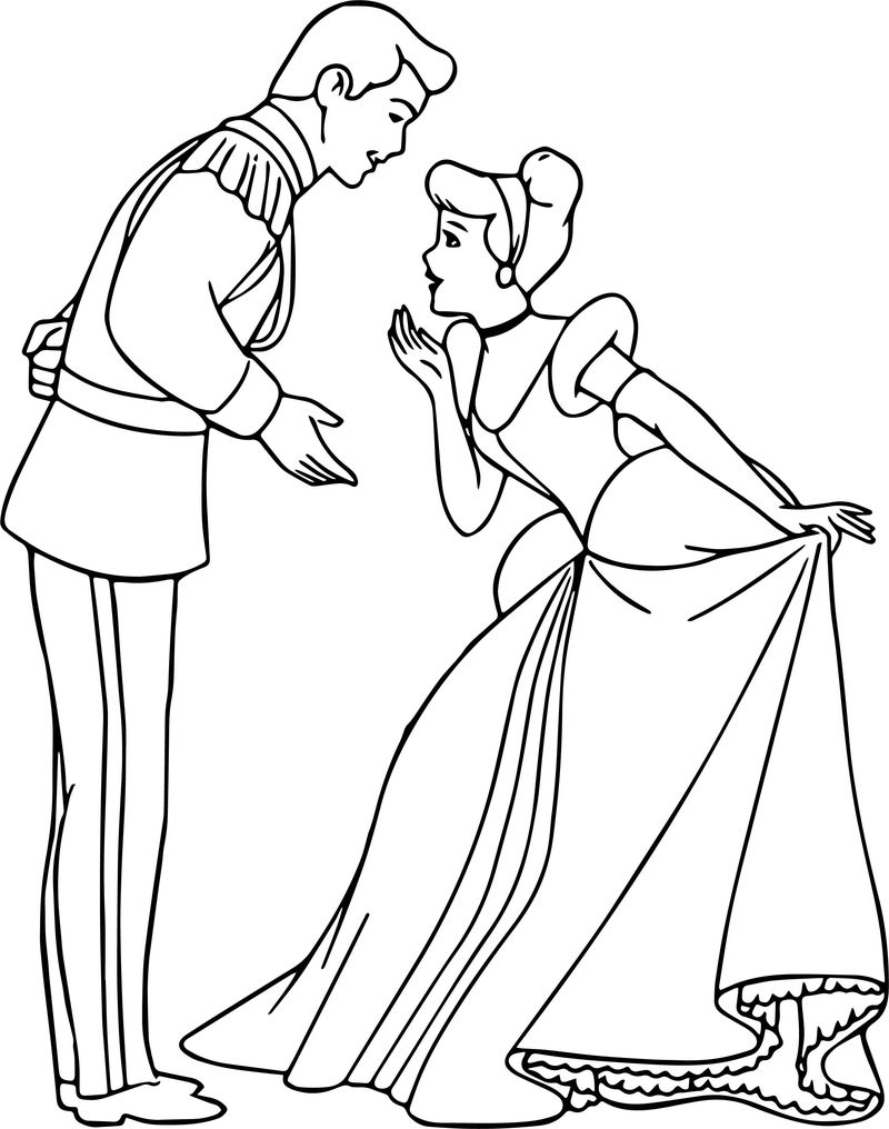 Cinderella And Prince Charming Respect Coloring Pages