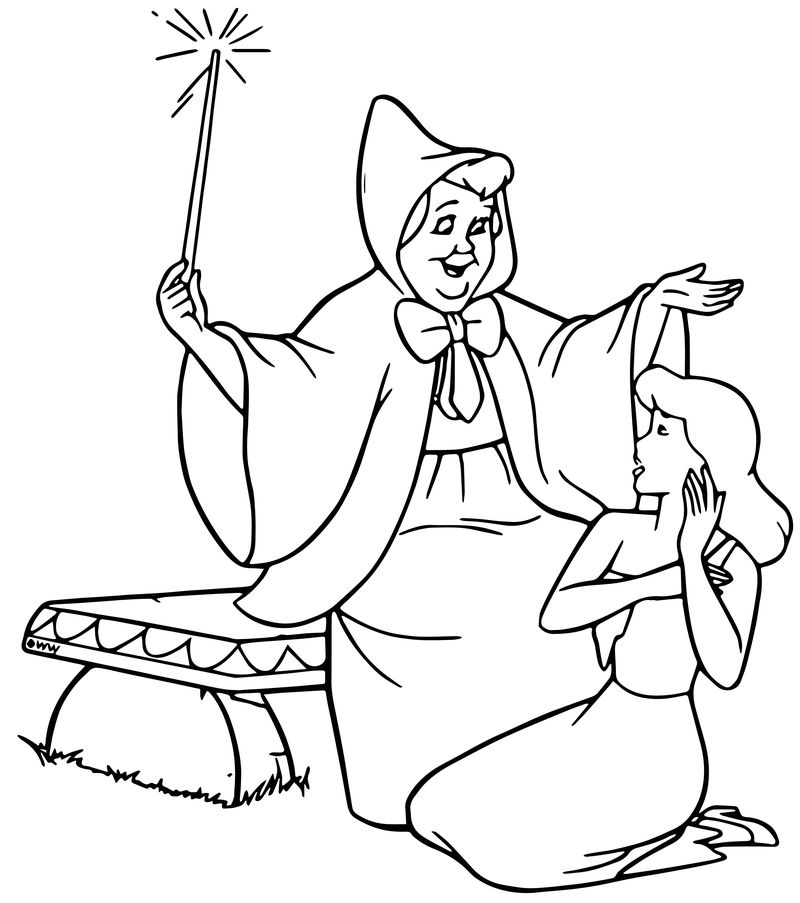 Cinderella Fairy Godmother Coloring Pages 06