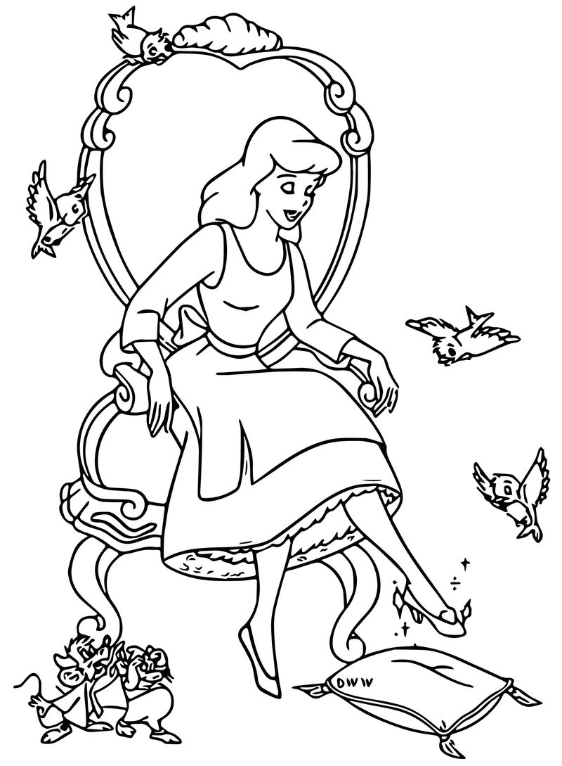Cinderella Mice And Birds Coloring Pages 05