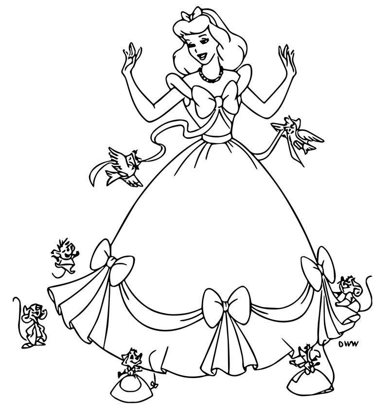 Cinderella Mice And Birds Coloring Pages 25