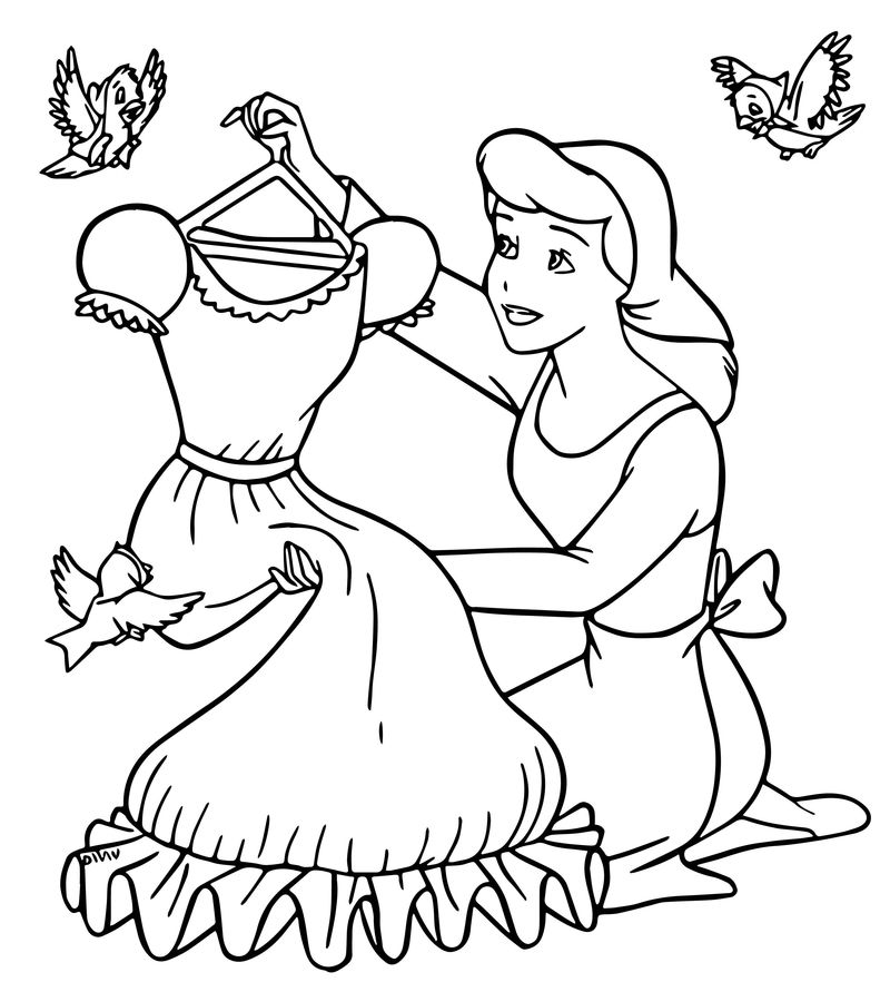 Cinderella Mice And Birds New Dress Coloring Pages
