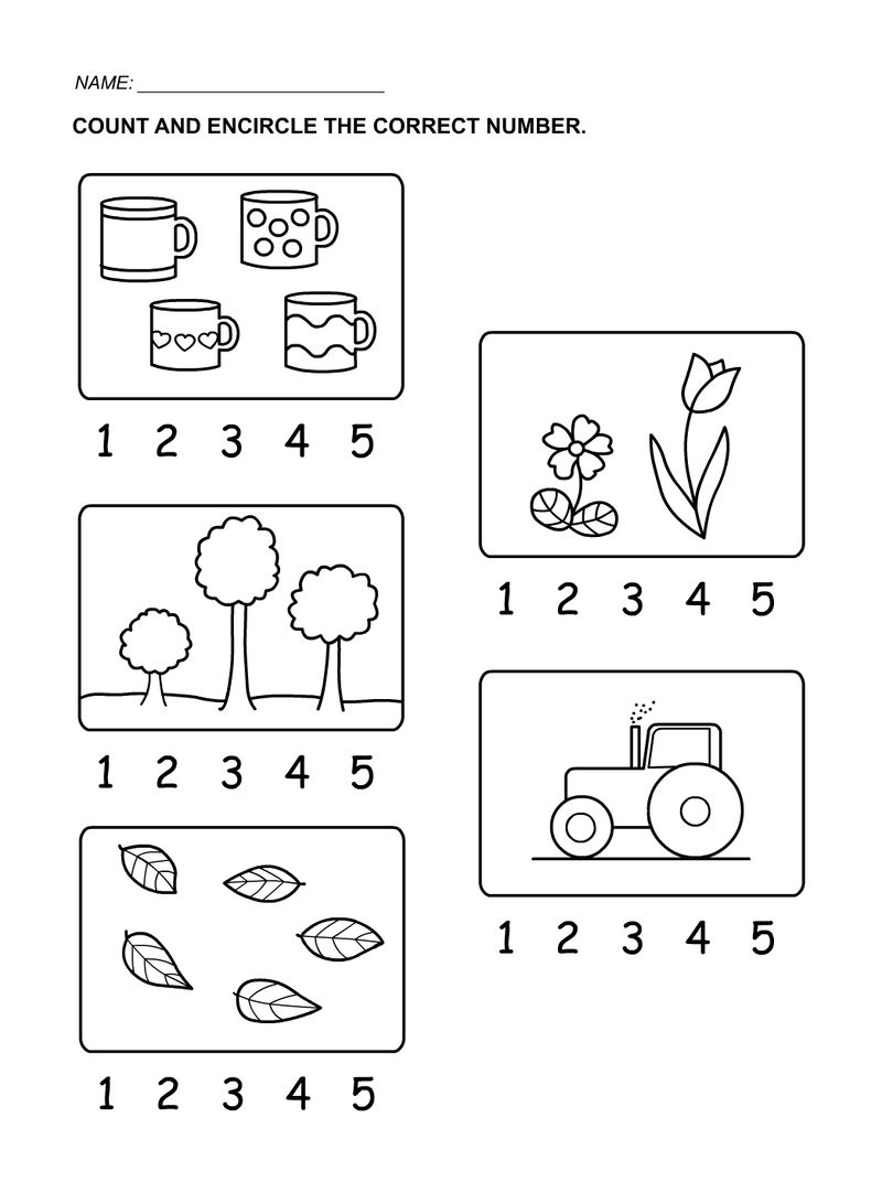 Circle The Number Math Coloring Pages