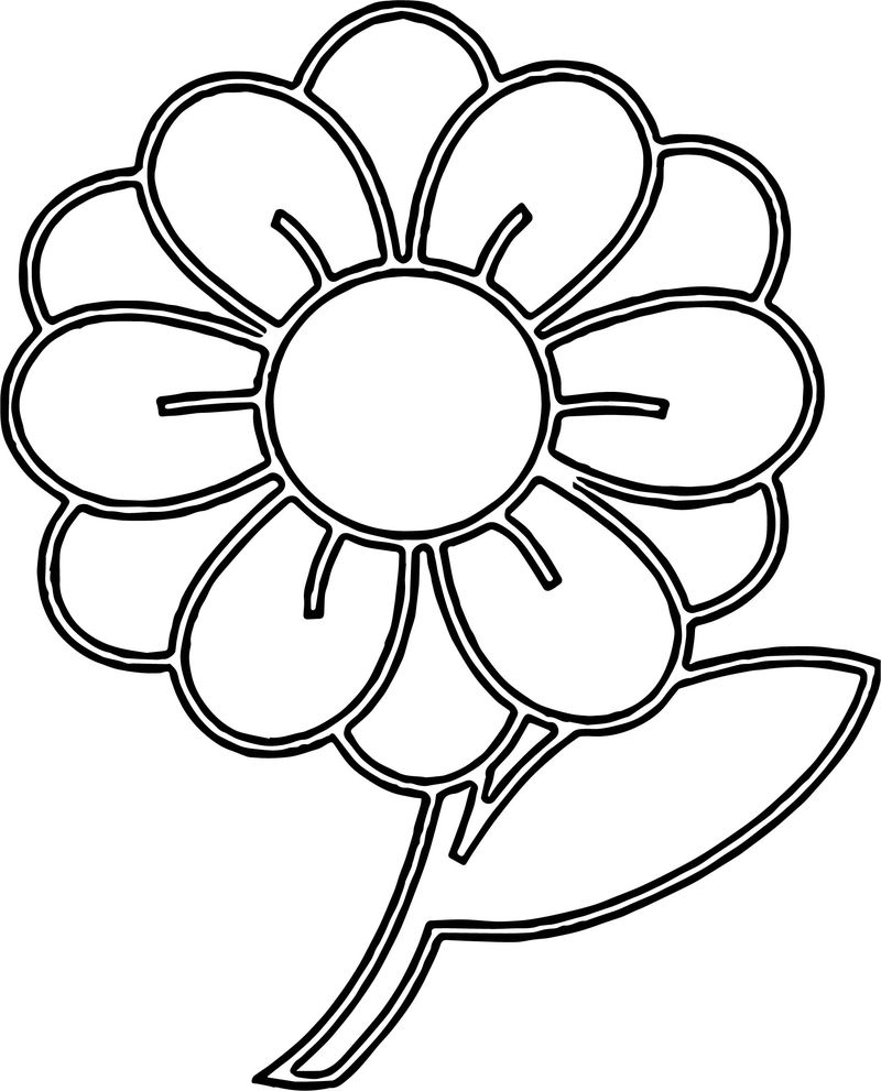 Clipart Flower With Stem Illustration Of A Flower With Coloring Page