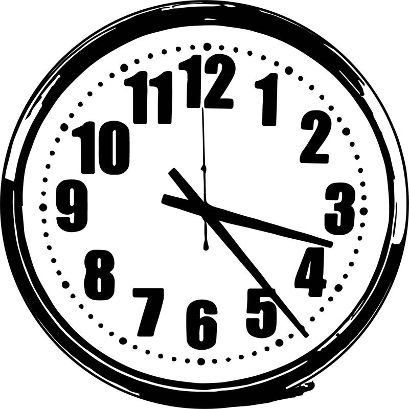 Clock Bold Number Coloring Page