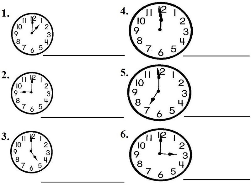 Clock Face Worksheet Elementary