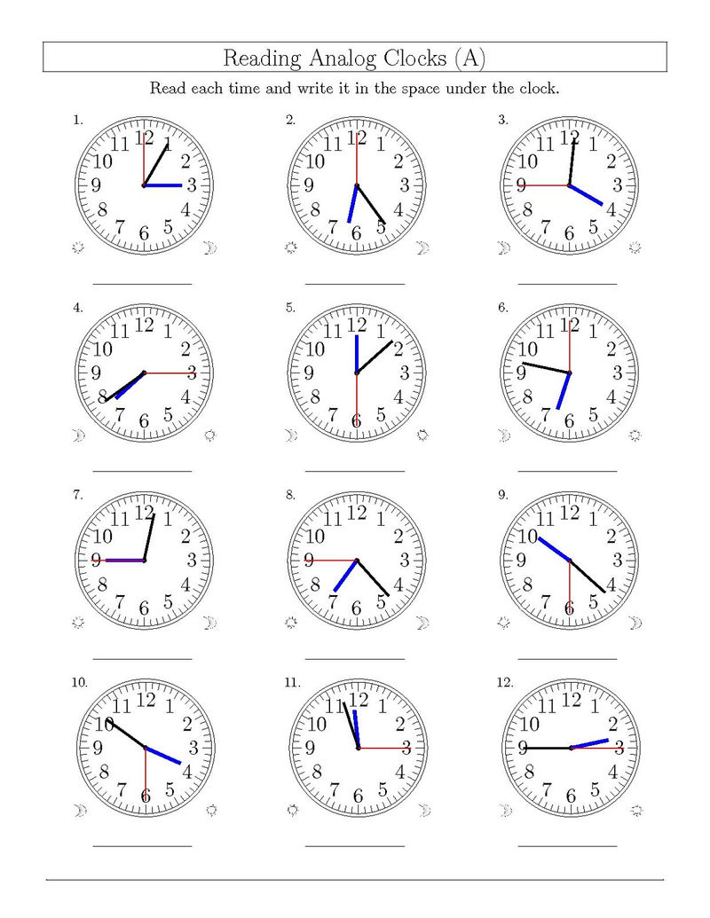 Clock Face Worksheet Page