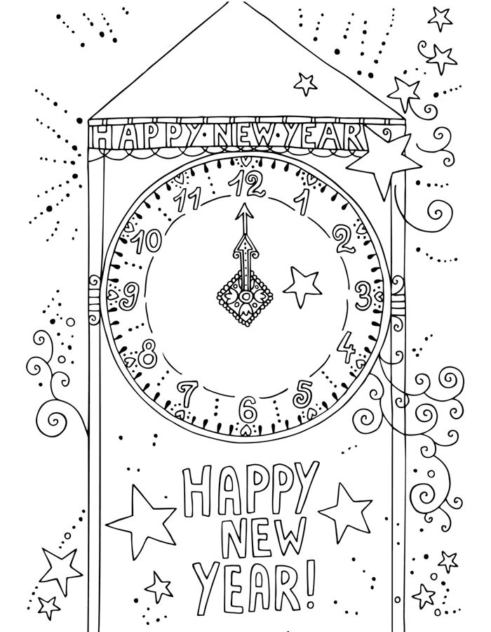 Clock Happy New Year Coloring Pages
