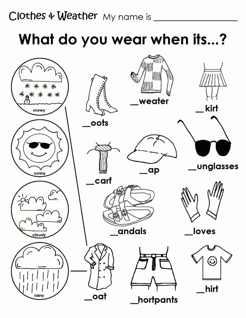 Clothes And Weather Matching Worksheet For Kindergarten