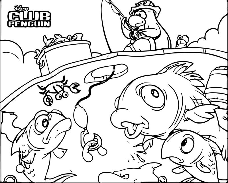 Club Penguin Fish Coloring Page