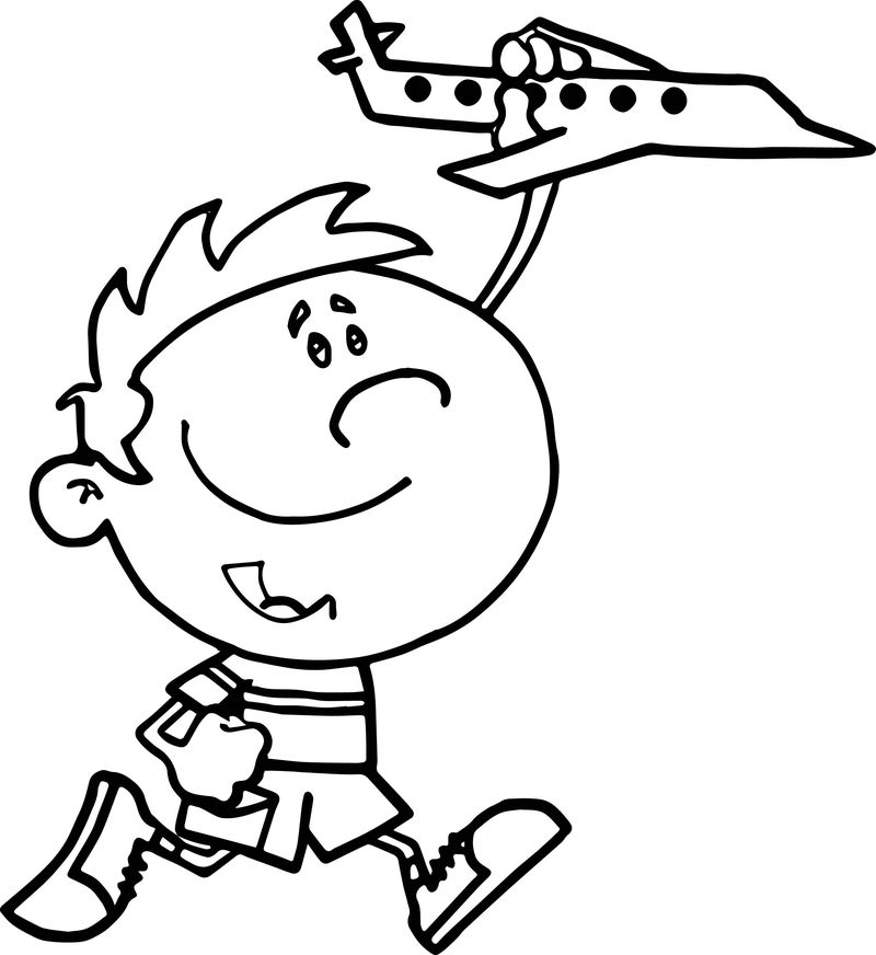 Cockpit Little Boy Playing With Toy Airplane Coloring Page