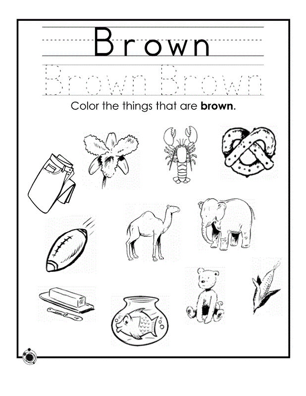 Color Activities For Preschool Printable Brown