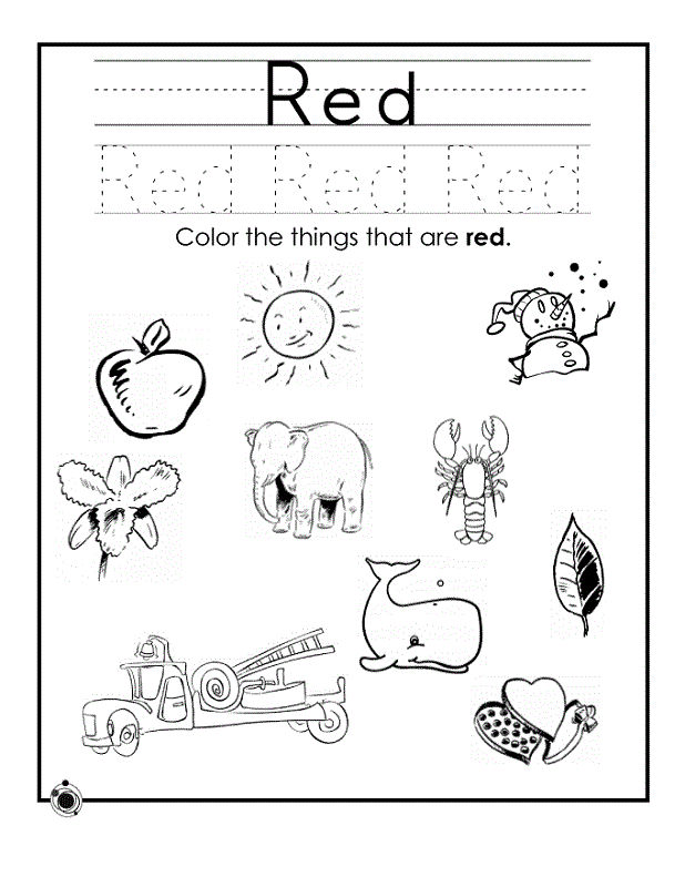 Color Activities For Preschool Printable Red