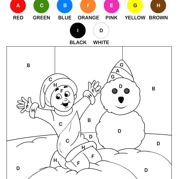 Color By Letter Winter Coloring Pages