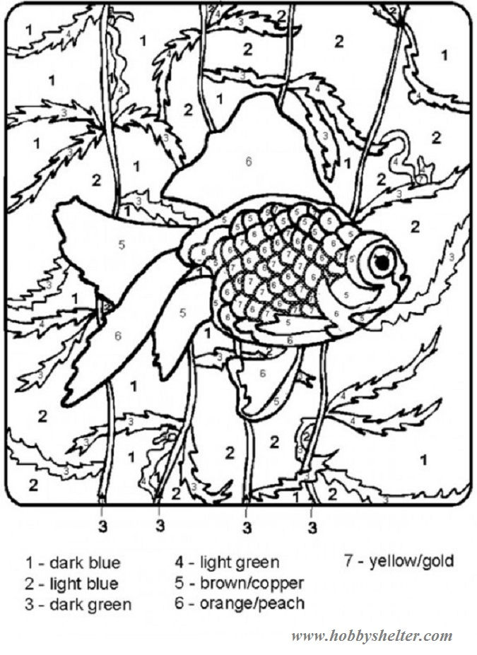 Color By Number Mosaic Fish