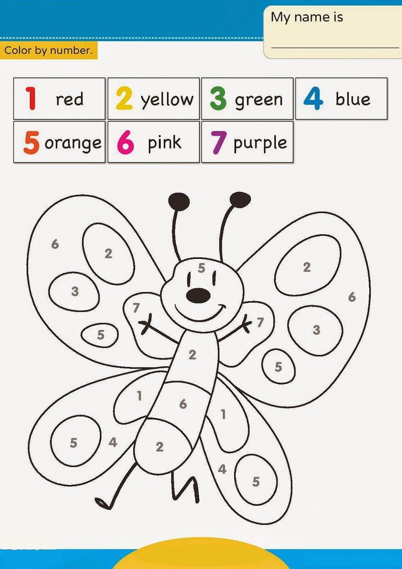 Color By Number Worksheet Butterfly