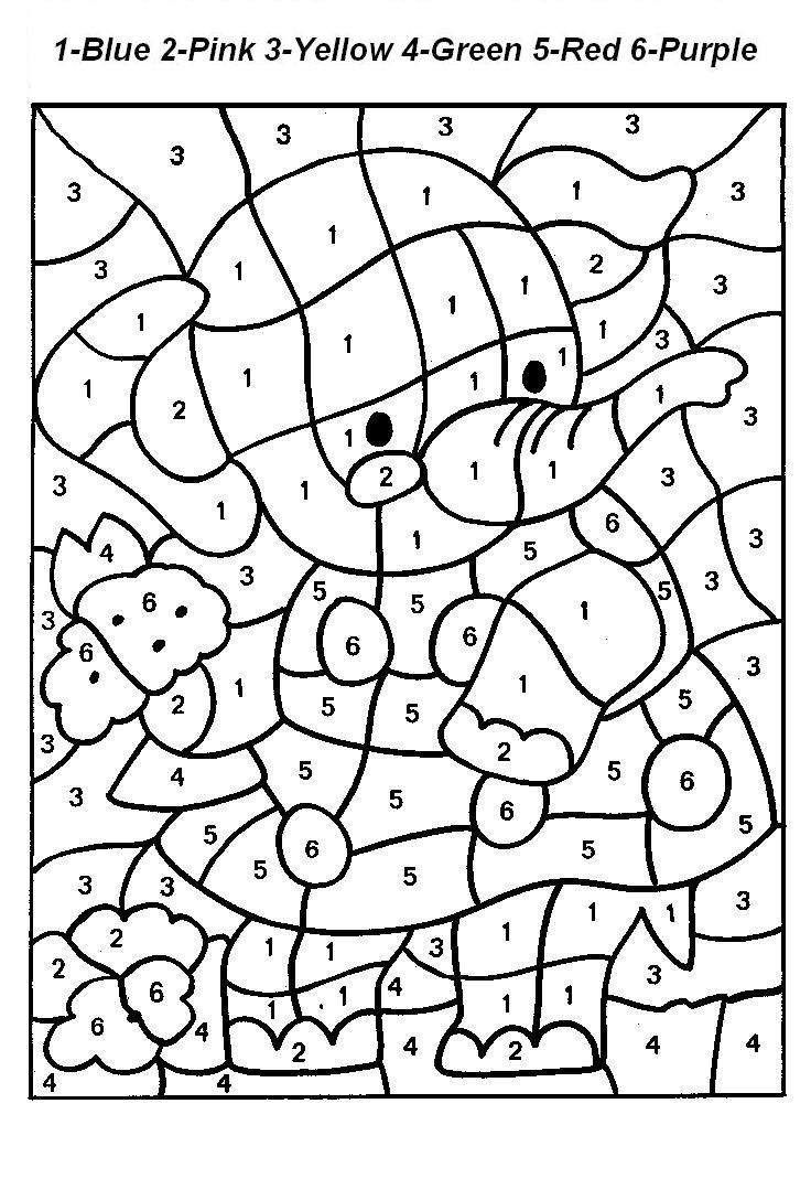 Color By Numbers Elephant 1