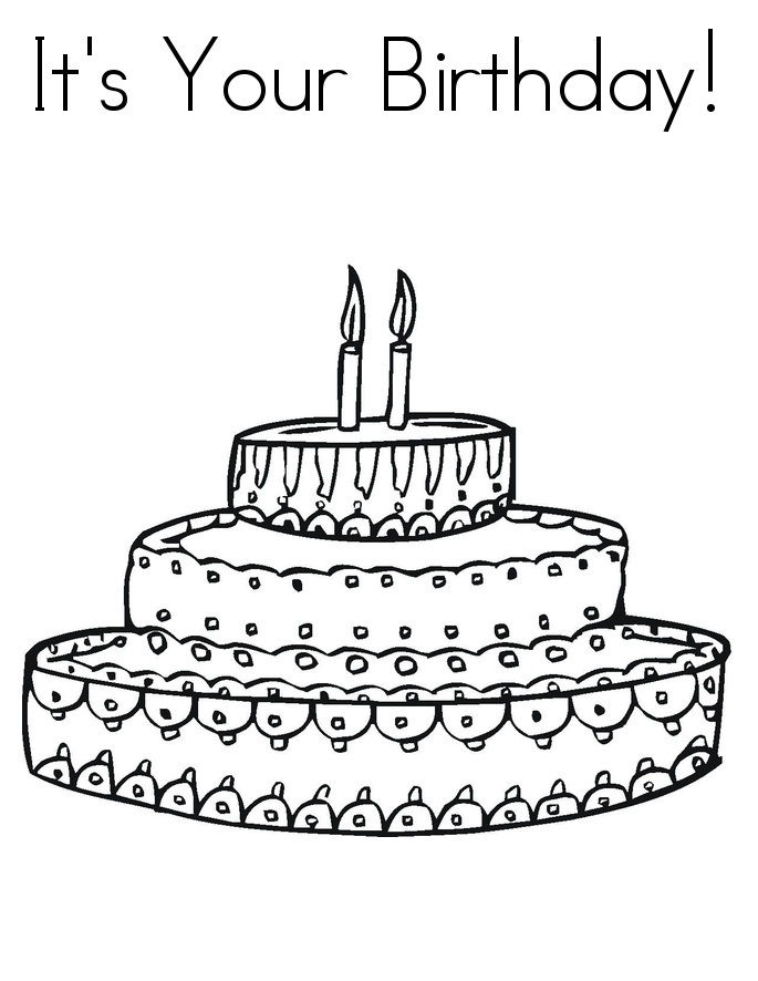 Coloring Pages Birthday Cake 001