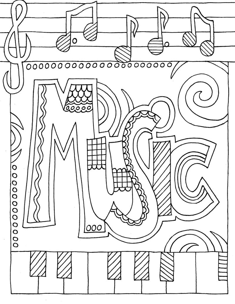 Coloring Pages For Elementary School Kids Music 001