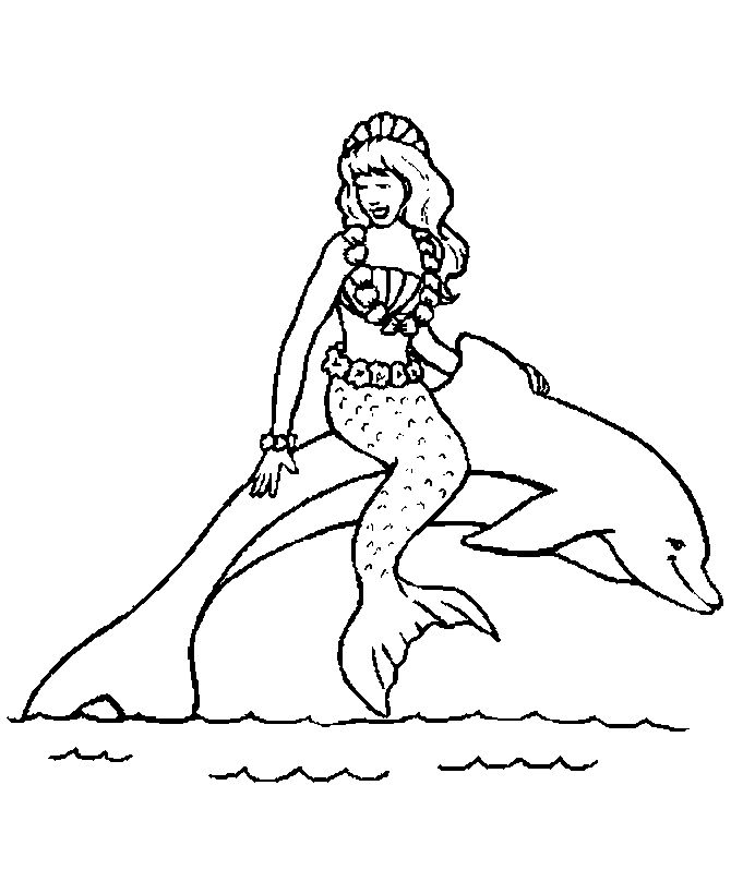 Coloring Pages Of Mermaids And Dolphins 1